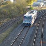 Rückfahrt des Zuges in Richtung Euskirchen, aufgenommen in Pelm