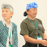 南相馬のねこおばさんこと、吉田美恵子さんと、ニャンダーガードの本多明さん。