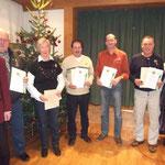 Theresia Sonner, Reiner Horak, Georg Notz, Hans Wagner, Hermann Wörner wurden für 40 Jahre Mitgliedschaft geehrt