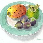 Teller mit Kaktusfeige und Feigen