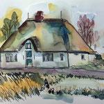 Reetdachkate Tetenbüll Osterkoog — Aquarell