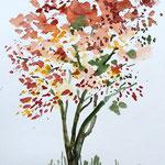 Herbstbaum - Aquarell