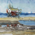Pfahlbau in St. Peter-Ording - Aquarell und Inky