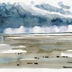 St. Peter-Ording Regenwolke überm Strand - Aquarell