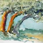 Bäume - Aquarell-Knittertechnik