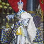 Schijnwerelden en maakbaarheid interesseren mij. Het Franse Hof van Lodewijk XIV is daar een mooi voorbeeld van. In mijn staatsieportret ligt daarom een masker in de plooien van de mantel en hangt de guillotinebijl al klaar in de coulissen.