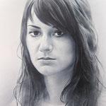 Портрет девушки, сухая кисть