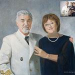 Портрет капитана с женой, масло, холст, 50х60 см.