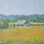 #околица #сельский пейзаж #деревенский пейзаж , 30х21см., маслом на картоне