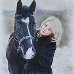 Портрет девушки с конем, сухая кисть