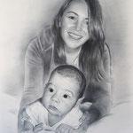 Портрет мамы с малышем, сухая кисть