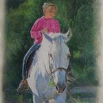 Портрет девочки на лошади, пастель