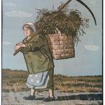 Бабка с корзиной, цв. линогравюра