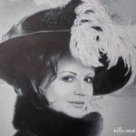 Фрагмент, женский портрет, сухая кисть