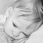 Портрет Наташи с малышом, сухая кисть