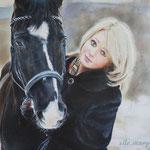 Фрагмент, портрет девушки с конем, сухая кисть
