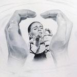 Портрет певицы Елены Ваенги, сухая кисть