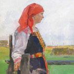 Портрет Анжелы в северном костюме, смешаная техника