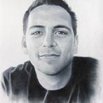 Мужской портрет(с фото снятого на  мобильный), сухая кисть