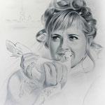 Портрет невесты, сухая кисть