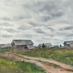 Северная деревня, акварель