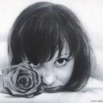 Девушка с розой, сухая кисть