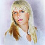 Женский портрет, сухая кисть