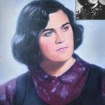 Женский портрет по черно-белой фотографии, масло, холст, 30х40 см.