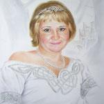 Женский портрет в Средневековом платье, сухая кисть