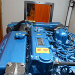 Engine of the trawler motorboat