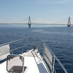 Passing the Rhion Bridge separating the Gulf of Patras and the Gulf of Korinth