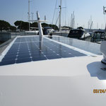 Solar panel in the efficient passagemaker motorboat