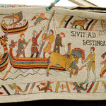 Ein Teil des Teppichs von Bayeux. Natürlich nicht das Original, aber er war trotzdem schön anzusehen.