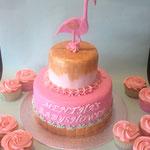 Babyshower taart met flamingo