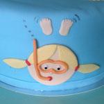 Zwemdiploma taart, close up
