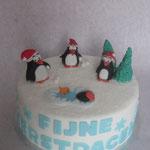 Kersttaart met pinguïns