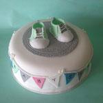Babyshower taart met schoentjes
