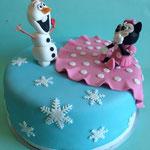 Olaf en Minnie Mouse taart