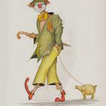 Clown mit Schwein