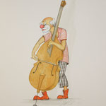 Clown mit Kontra-Bass