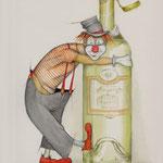 Clown mit Flasche