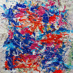 Loris Agosto - Universi paralleli - Resine pigmenti e smalti su tela raggomitolata - cm 140 x 120