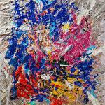 Loris Agosto - Bagliori - Resine pigmenti e smalti su tela raggomitolata - cm 140 x 120