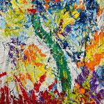 germinazione_resine, pigmenti e smalti su tela aggomitolata_cm 140x110