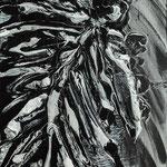 Daniele Ghin - Senza titolo - Cenere e smalto - cm 120 x 80