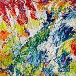 Germinazione_resine, pigmenti e smalti su tela aggomitolata_cm 110x140