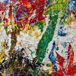 Trascendenze_resine, pigmenti e smalti su tela aggomitolata_cm 50x50