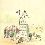 """""""Le CPN (Club Photo Nivellois) Entre-Nous - 1933-1998 a son premier moniteur Taf sanpopof mort au front de l'art"""". Albert (Hanse) n'est pas content (dessiné par Harry Kossek) - Reportage du Journal """"La Croix"""". Dessin réalisé par Octave Sanspoux vers 1960"""