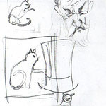 """Croquis du """"chat"""" et de """"Pestiaux"""", le pharmacien"""