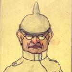 Herr Pomm Kwitt (Ober Leutnank). Carte postale dessinée par Octave Sanspoux en 1919 et envoyée à son frère Joseph en 1919, au Canada.